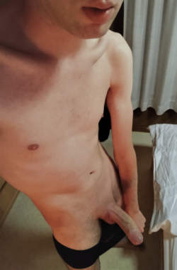 Guy letting his boner out