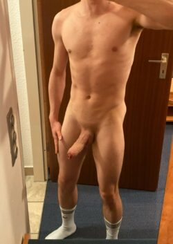 Smooth shaved cock and white socks